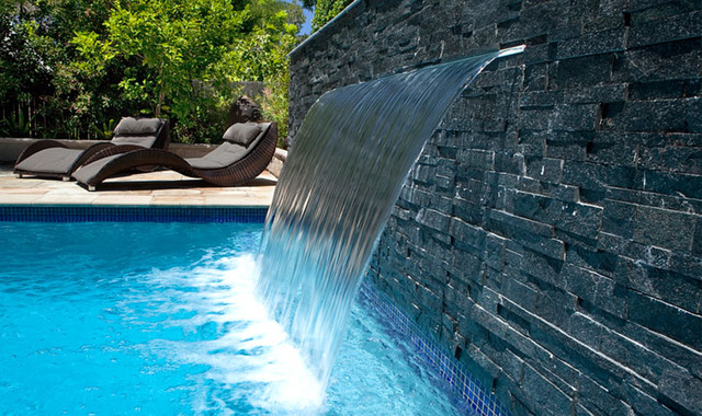 Sheer descent waterfall sydney pool sydney by - Crystal pools waterfall ...
