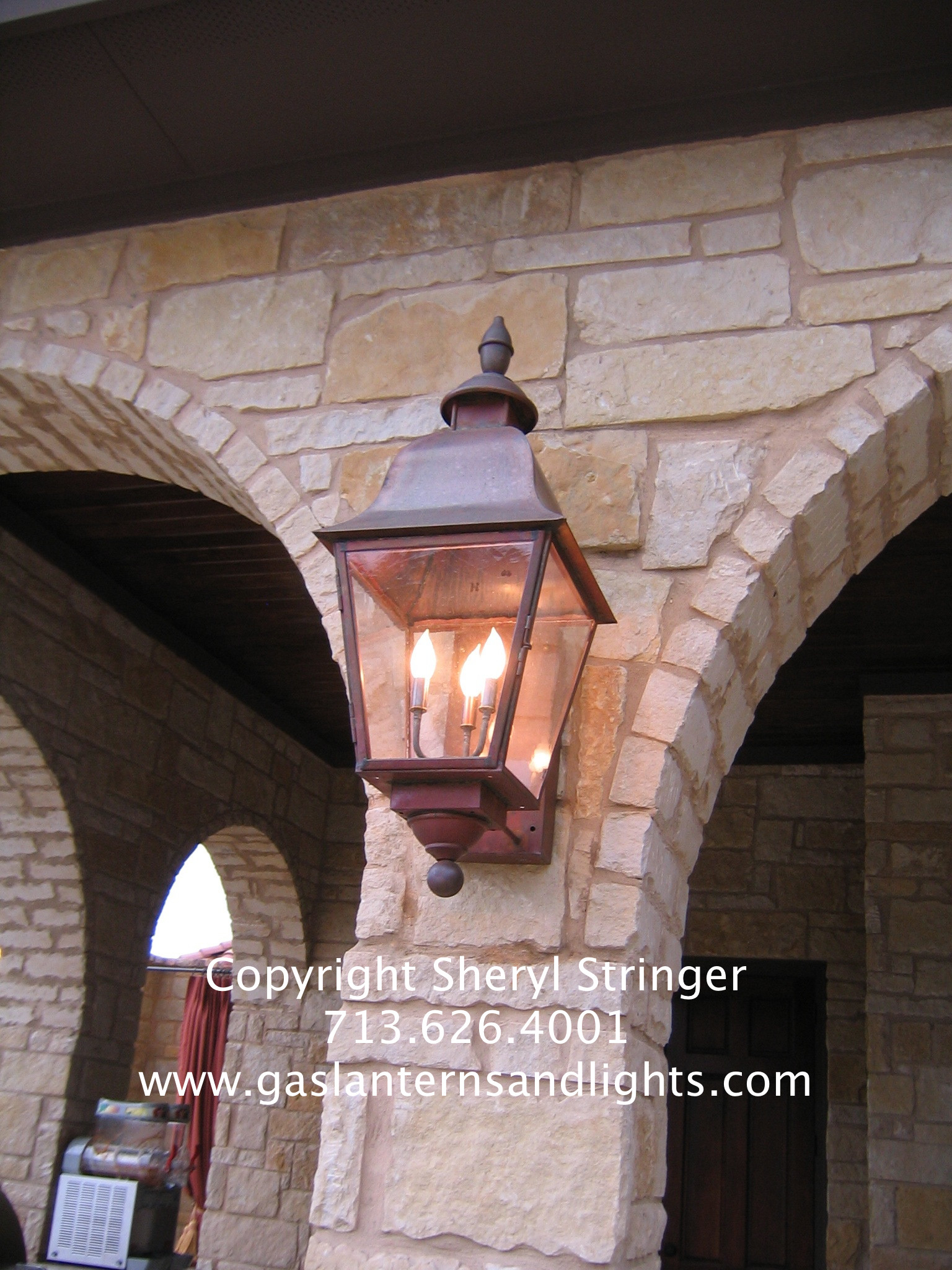Sheryl's Electric Tuscan Lantern with Natural Copper Finish