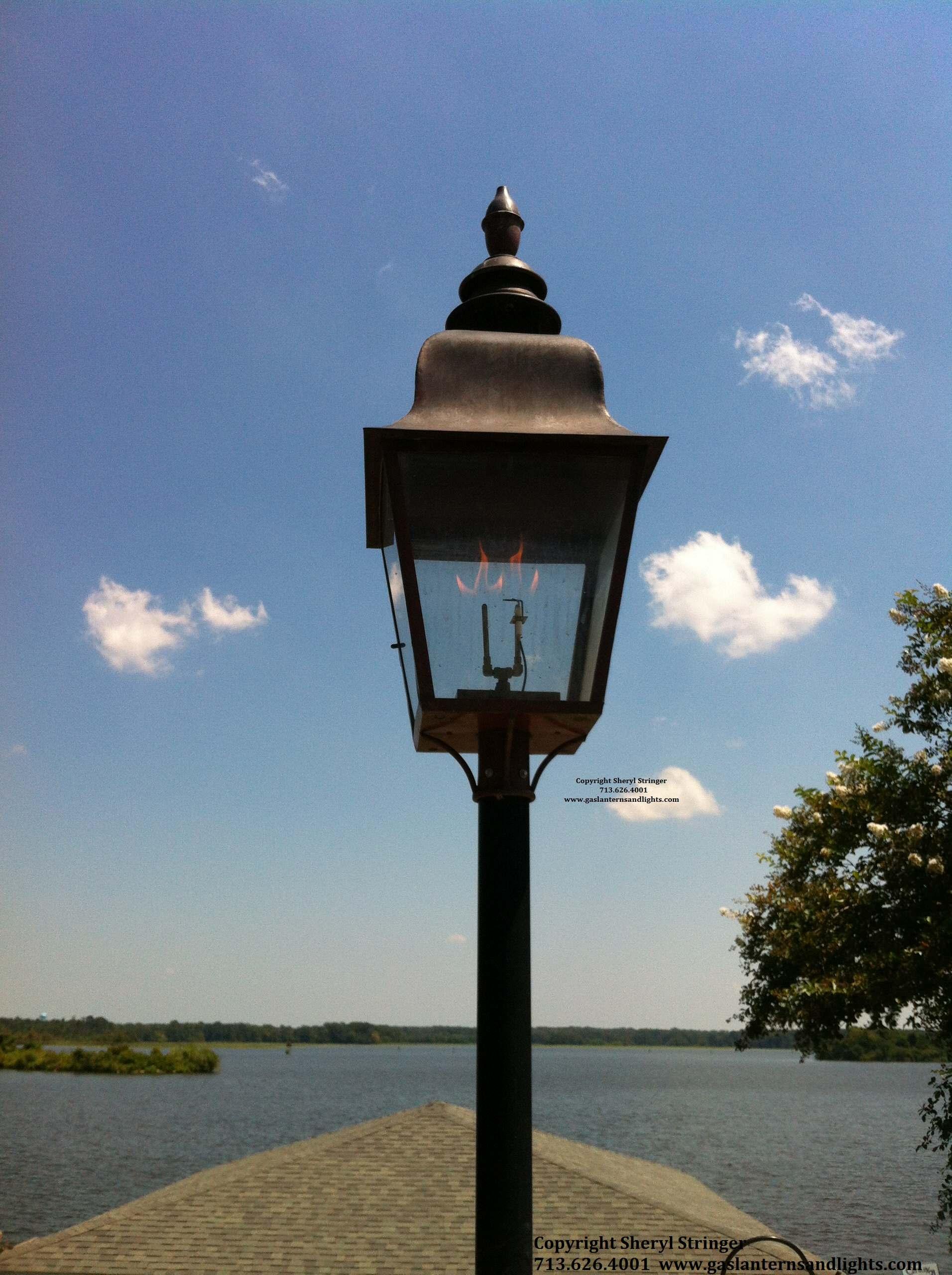 Sheryl's Extra Large Tuscan Gas Lantern on Pole