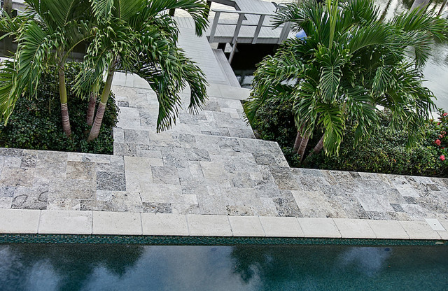 Silver Travertine Pavers Tropical Pool Tampa By