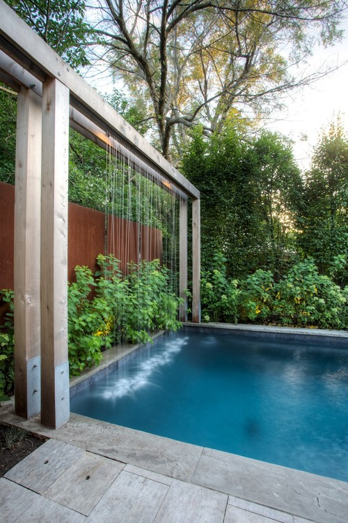 Contemporary Backyard Waterfalls : Contemporary Landscape with Modern Waterfall by Seattle Architects