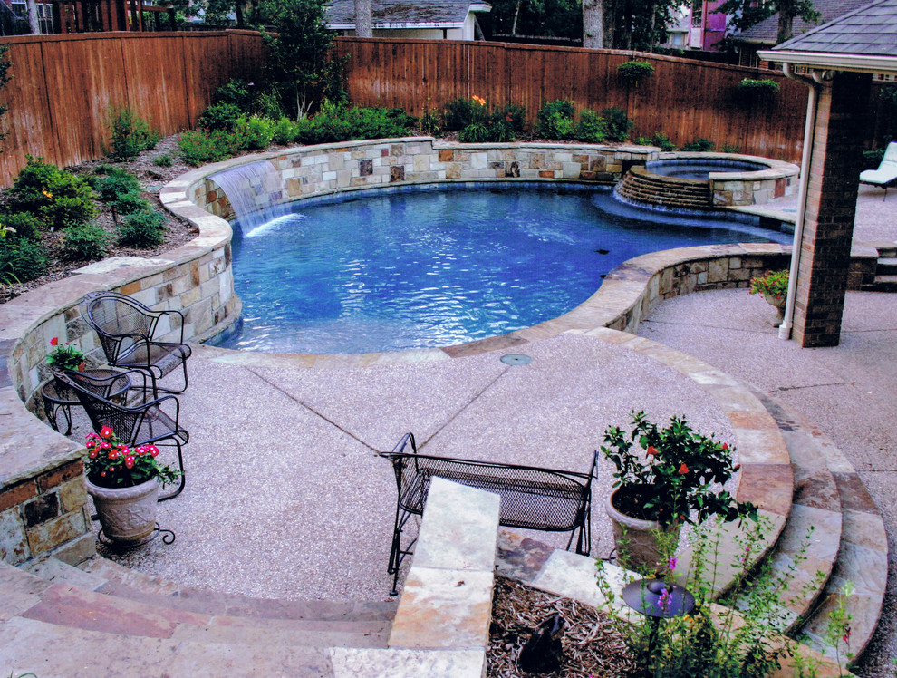 Freeform Pool Spa In Sloped Yard