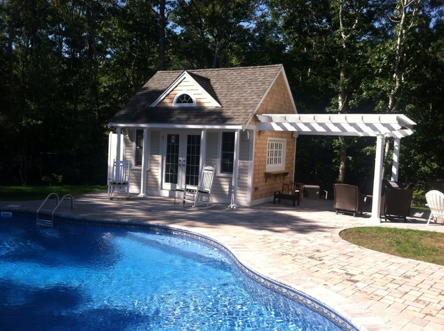 Small pool house traditional pool other metro by for Pool house plans with bathroom