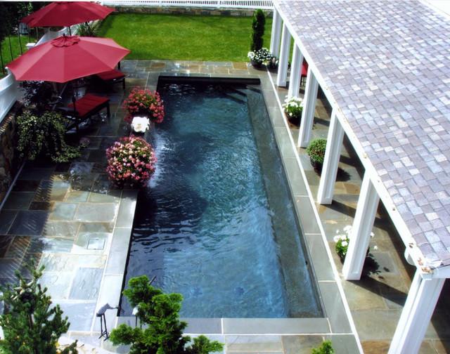 Elegant Small Space Pool And Pergola Traditional Pool