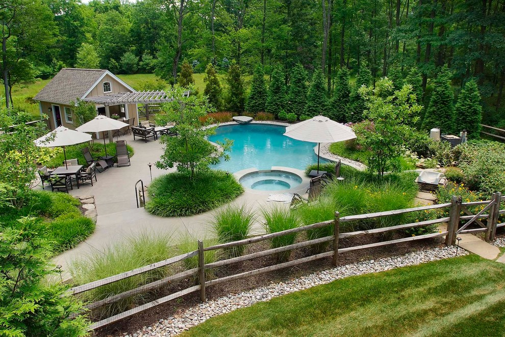 Example of a classic backyard custom-shaped pool design in Philadelphia