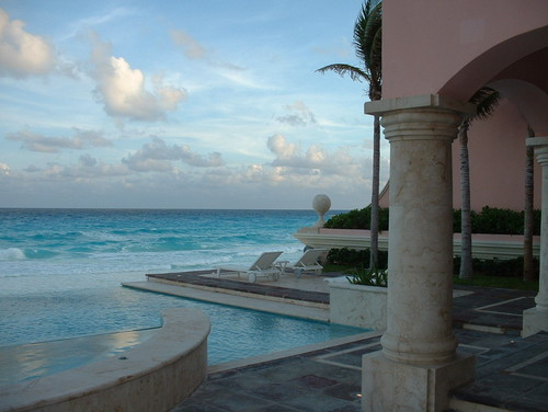 South east view. With waves. tropical pool