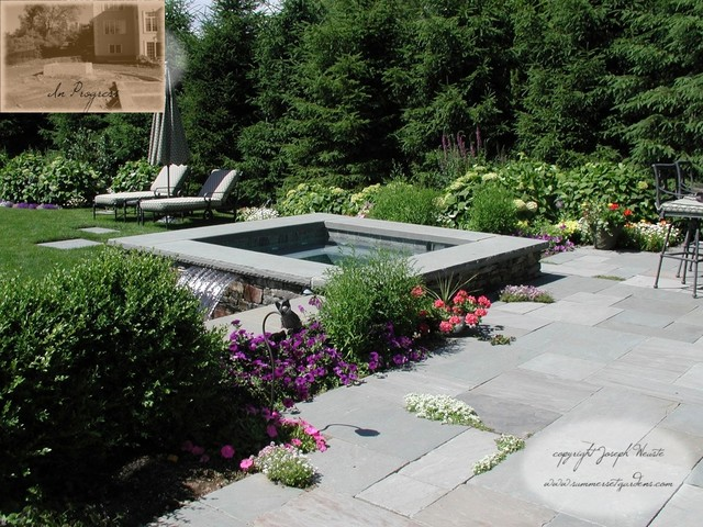 Spa, Flagstone Patio & Lush Plantings traditional-pool