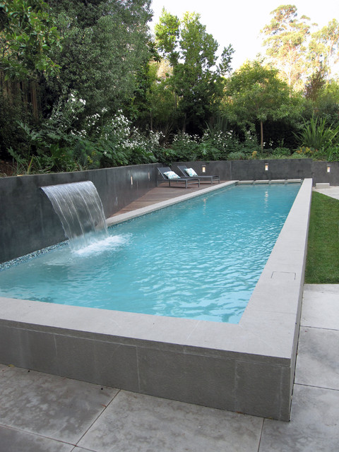 Rectangle Pool With Water Feature spa oasis - modern - pool - san francisco -shades of green