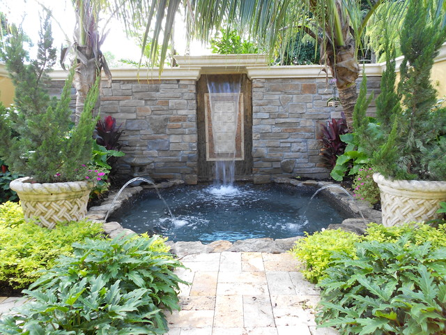 Contemporary Backyard Waterfalls :   Contemporary  Pool  Miami  by Premier Pools, Spas & Waterfalls