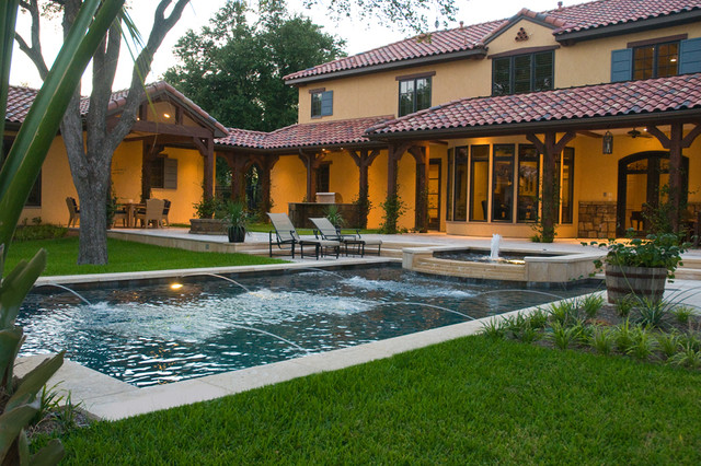 Spanish Colonial Revival Mediterranean Pool