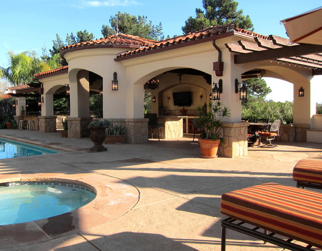 Spanish revival style pool cabana in santa barbara for Santa barbara style house
