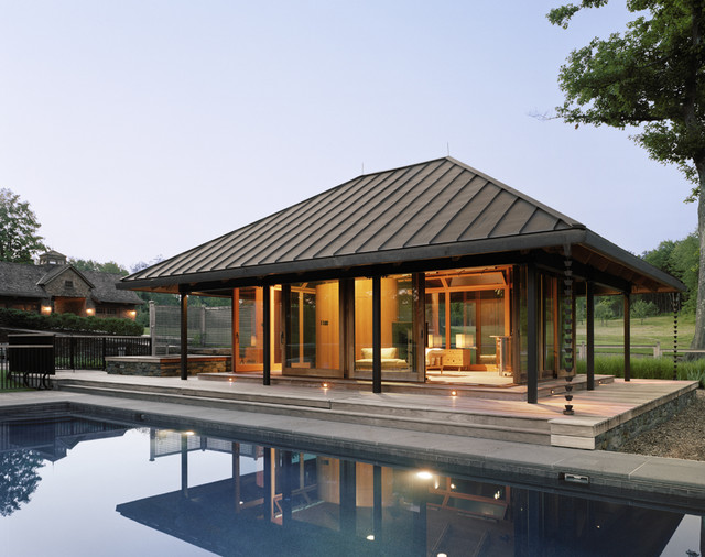 Split Oaks Farm Poolhouse modern pool