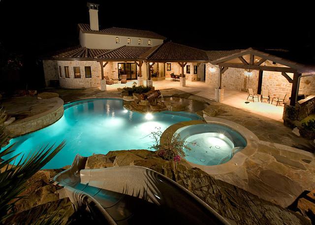 Sprawling Tuscan Ranch Mediterranean Pool Austin