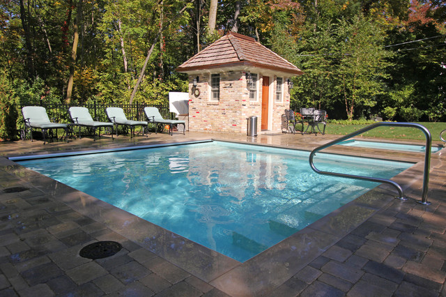 square shaped pool spa traditional pool chicago