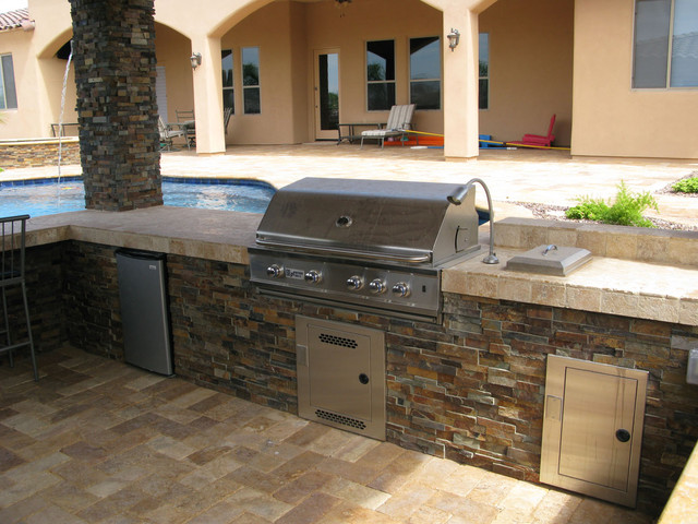 Stacked Stone Ledger Panel Contemporary Pool Other