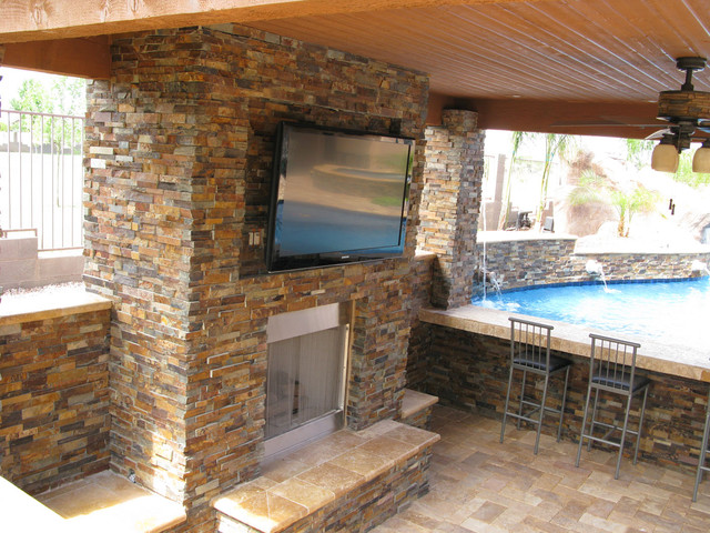 Stacked Stone Ledger Panel contemporary-pool