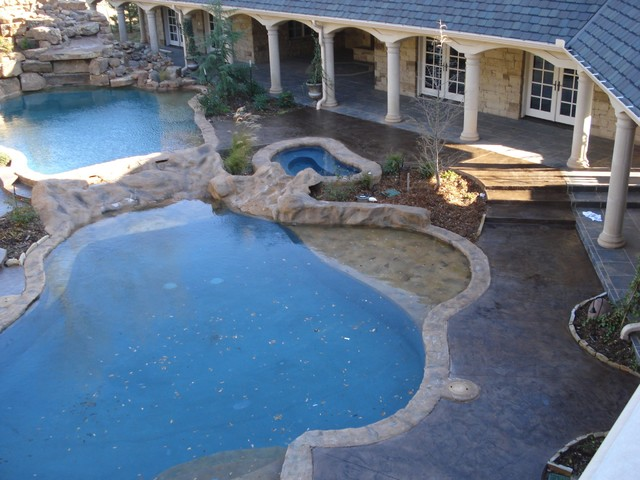 Stamped/Integral Color Pool Deck - Traditional - Pool - Oklahoma ...