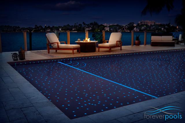 Starry night glass tile pool modern-pool