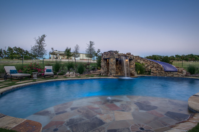 Stone Oasis Luxury Swimming Pool With Grotto And Slide Dallas Tx Rustic Pool Other