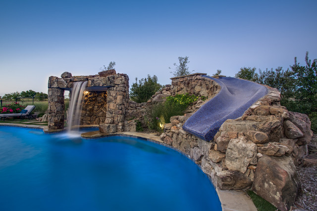 Stone Oasis - Luxury Swimming Pool with Grotto and Slide ...