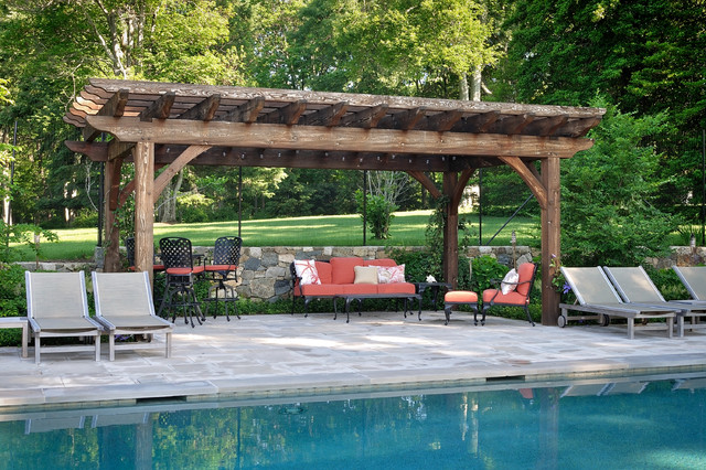 Stone Pool House & Pergola craftsman-pool