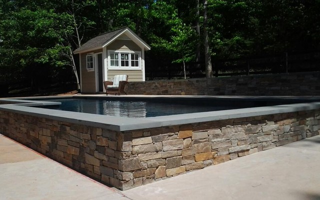 Stone Pool Walls and Bluestone Wall Cap : traditional pool from www.houzz.com size 640 x 400 jpeg 75kB