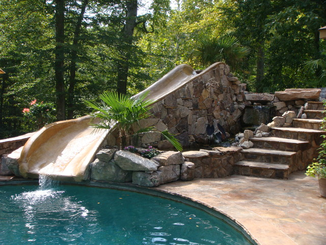 Stone pool with water slide for Richmond gardens pool