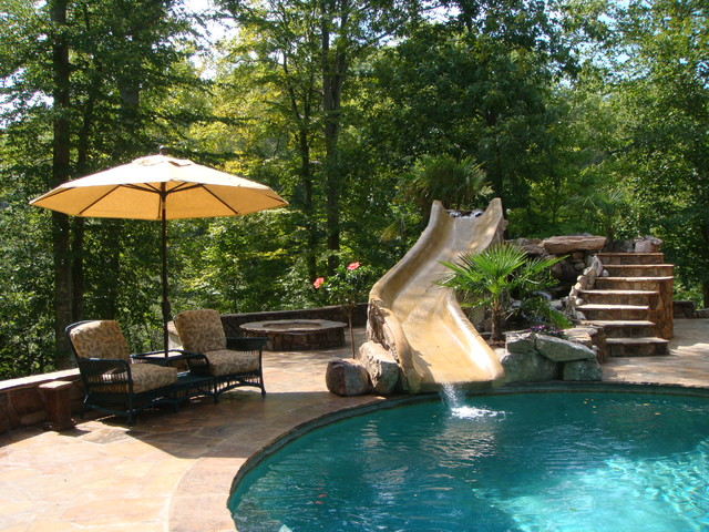 Stone Pool With Water Slide