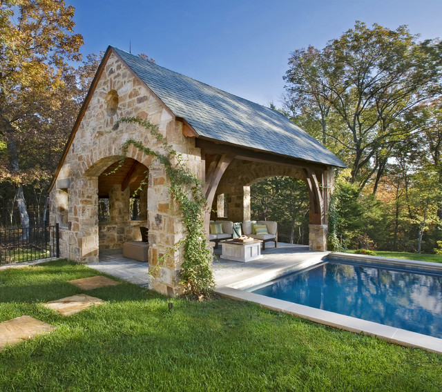 Stone residence 1 traditional pool nashville by for Pool house designs with outdoor kitchen