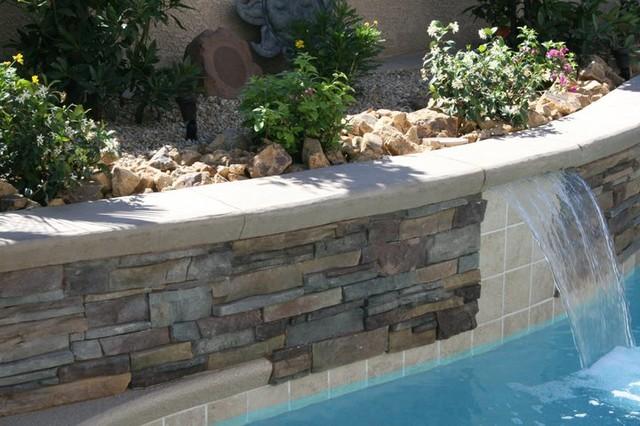 Inground Spas With Stack Stone : Stone veneer stack