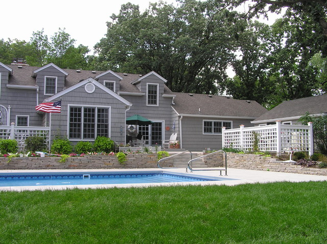 Stone walls, steps, patios, fireplaces traditional-pool