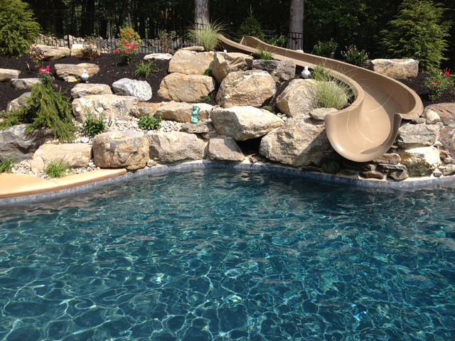 Stroud Township Salt Water Pool With Spa Sunshelf Slide And Waterfall Traditional Pool