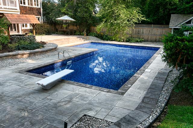Stunning Backyard With L Shaped Inground Pool Rustic Swimming Pool Ottawa By Mermaid Pools Hot Tubs