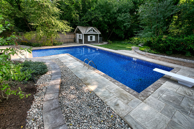 Stunning Backyard With L Shaped Inground Pool Rustic Pool Ottawa By Mermaid Pools Hot Tubs Houzz Nz