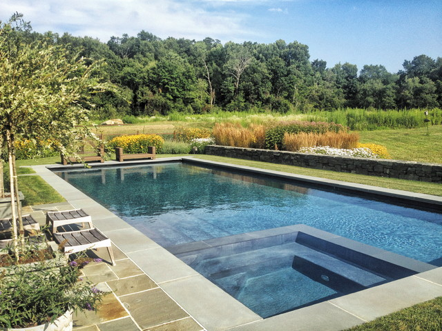 sun drenched rectangle pool with spa full color bluestone decking traditional pool