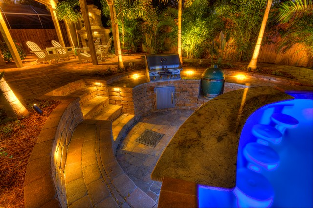 Sunken Outdoor Kitchen Tropical Pool Tampa By Landscape Fusion