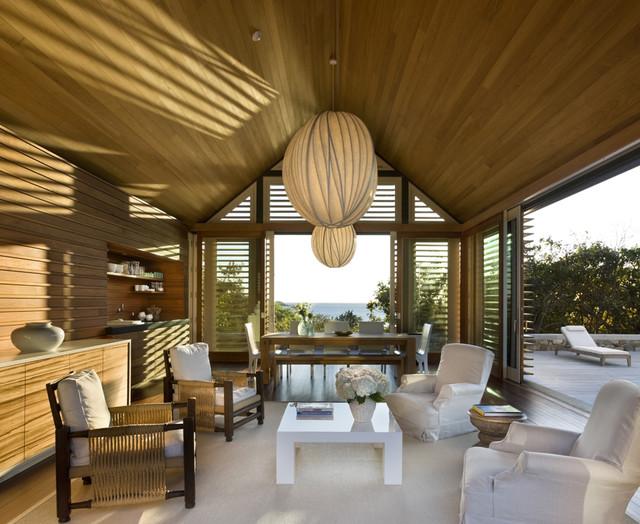 Sunlit Poolhouse Interior beach-style-pool