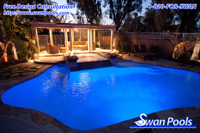Swan pool design gallery traditional pool orange for Pool design orange county