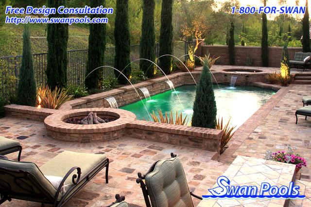 Swan pools custom design a tuscan dream mediterranean for Pool design orange county ca