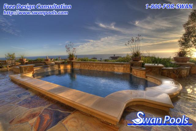 Swan pools custom design elegant retreat mediterranean for Pool design orange county ca