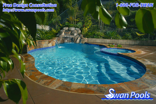 Swan pools custom designs a jewel in the forest pool for Pool design orange county ca
