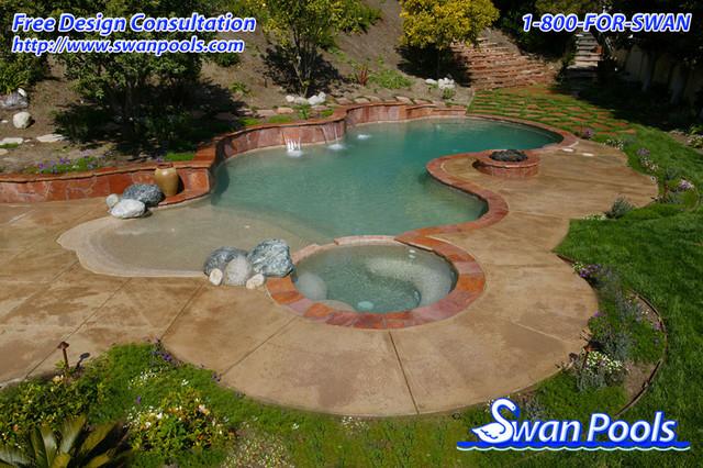 Swan pools custom designs desert oasis 2003 pool - Swimming pool builders california ...