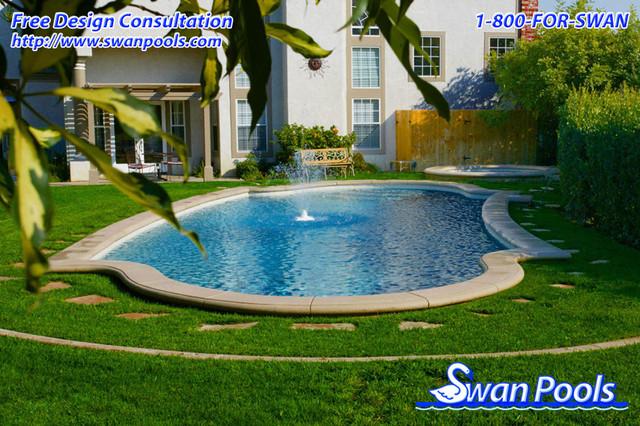 Swan pools custom designs fountain in the meadow for Pool design orange county ca