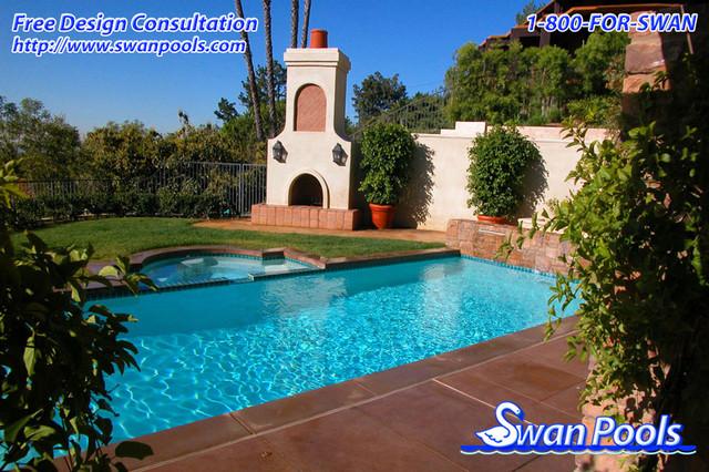 Swan pools custom designs simple elegance 2002 pool for Pool design orange county ca