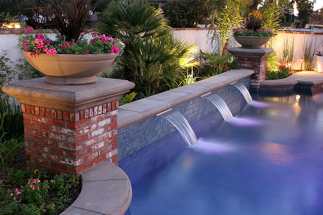 Swan Pools Swimming Pool Company Water Feature Sheer Descent Traditional Pool Orange