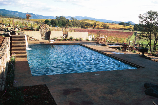 Swan pools swimming pool construction company oasis in the vineyards contemporary pool for Swimming pool contractors san francisco bay area