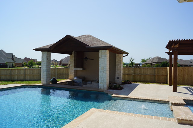 Swim up bar pavilion Traditional Pool Dallas by DFW Creative