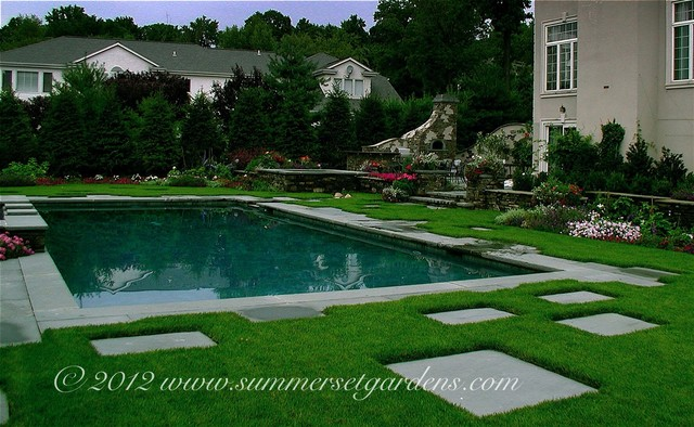 Swimming pool and outdoor kitchen design traditional for Swimming pool landscape design