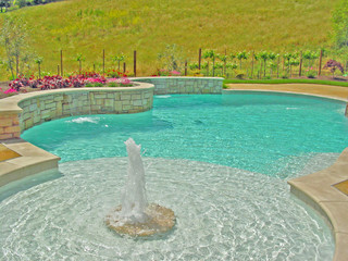 Swimming Pool Fountain Fireplace And Shear Desents With A Vineyard Mediterranean Pool San