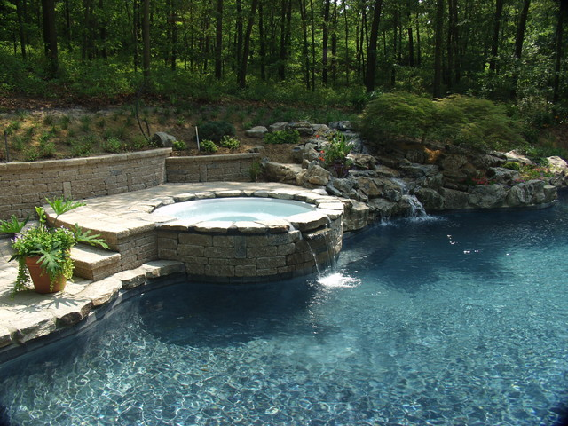 Swimming pool hot tub landscape dsign renovation in for Pool with jacuzzi designs